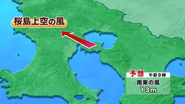 桜島上空の風